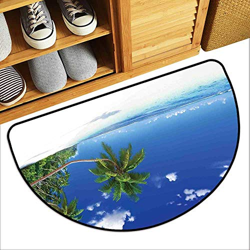 DILITECK Waterproof Door mat Ocean Paradise Beach in Tropics Exotic Hot Summer Day with Clear Sky Landscape Photo Personality W24 xL16 Blue White - Tropic Rug Multi Stripes Ocean