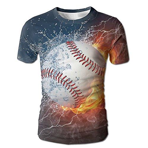 Kooiico Men's Sports Baseball Ball on Fire and Water Flame Splashing Thunder Lightning Creative Art Funny Tshirt White S