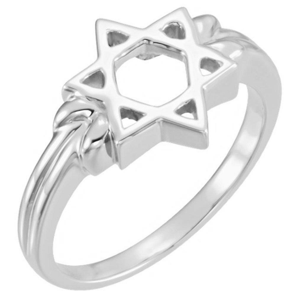 14k White Gold Star of David 12mm Ring, Size 8