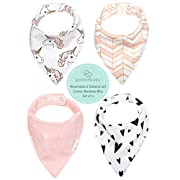 REVERSIBLE & WATERPROOF Cotton Baby Bandana Drool Bibs for Girls with Adjustable Snaps, Pack of 4 Soft Absorbent Cute Bib Set for Teething Drooling, Perfect Baby Shower Gift