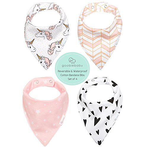 REVERSIBLE & WATERPROOF Cotton Baby Bandana Drool Bibs for Girls with Adjustable Snaps, Pack of 4 Soft Absorbent Cute Bib Set for Teething Drooling, Perfect Baby Shower (2 Christmas Baby Bibs)