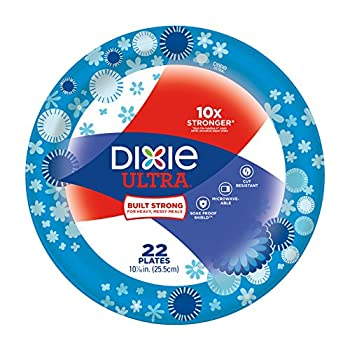 Dixie Ultra Paper Plates, 10 1/16 Inch Plates, 22 Count; Designs May Vary