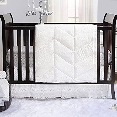 Taylor White Eyelet Baby Crib Bedding Sets by The Peanut Shell