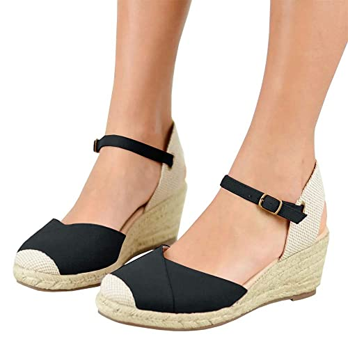 249dd208a88 Nailyhome Womens Espadrille Wedge Platform Sandals Ankle Strap Cap Toe  Wedge Slingback Sandals