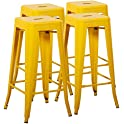 4-Set Mimo Living Backless Indoor Outdoor Stackable Waterproof Bar Stools
