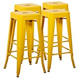 Mimo Life Metal Modern Bar Stool Set of 4 Backless Indoor Outdoor Stackable Stools With Square Seat, 30 Inches High, Yellow For Sale