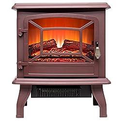 "FIREBIRD 15"" 1500W Adjustable 2 Setting 5200BTU Freestanding Portable Tempered Glass Electric Fireplace Stove Heater by FIREBIRD"