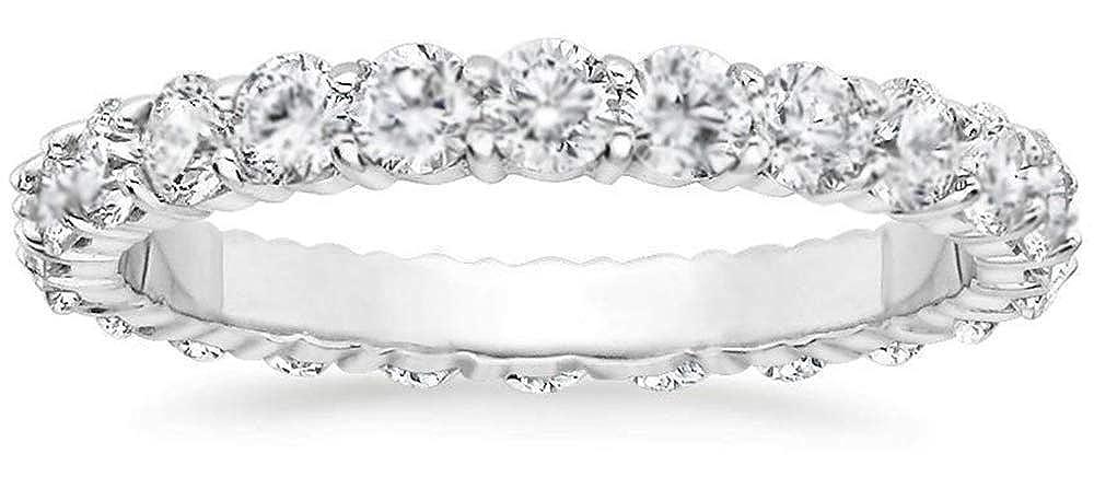 Round Cut Natural Diamond Eternity Wedding Band 14k White Gold Womens Ring 1ct