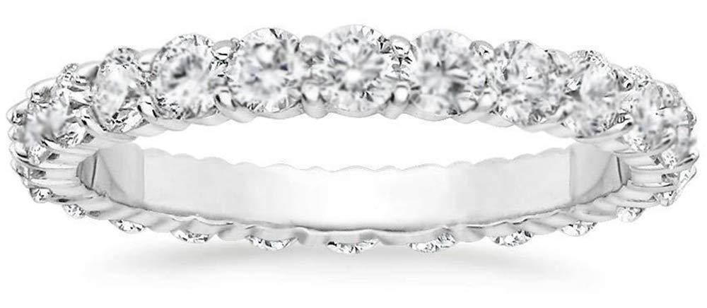 1ct. Round Cut Natural Diamond Eternity Wedding Band 14k White Gold Womens Ring (6)
