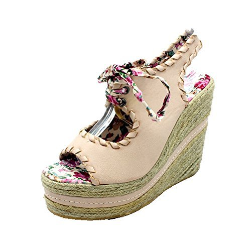 Peep Sandals Wicker Toe Shoes Beige Wedge BXdqBw