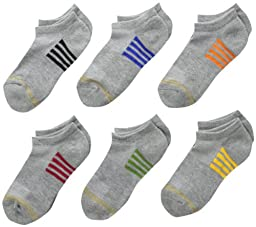 Gold Toe Big Boys\' 6 Pack Sporty Liner Sock, Grey Heather with Stripes, Medium