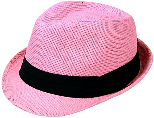 Livingston Unisex Summer Straw Structured Fedora Hat w/Cloth Band, Pink, L/XL (Unisex Felt Hat)