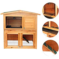 "Eight24hours 40""New A-Frame Wood Wooden Rabbit Hutch Small Animal House Pet Cage Chicken Coop"