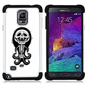 GIFT CHOICE / Defensor Cubierta de protección completa Flexible TPU Silicona + Duro PC Estuche protector Cáscara Funda Caso / Combo Case for Samsung Galaxy Note 4 SM-N910 // Skull Funny Octopus Anatomy White //