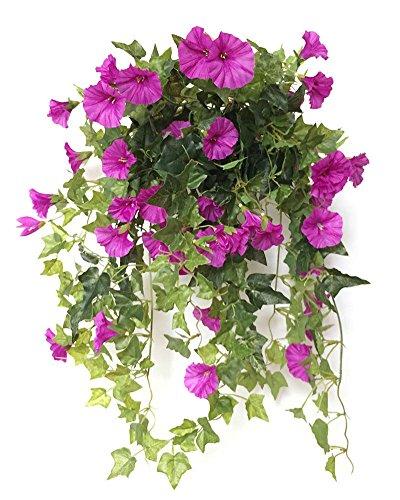 Lopkey Silk Morning glory Artificial Flowers Wall Hanging Basket Decor,Purple