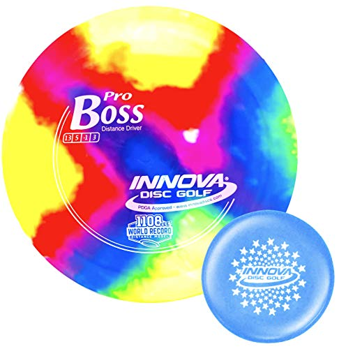 Innova I-Dye Pro Boss Disc Golf Distance Driver with Stars Stamp Innova Mini (Colors and Designs Will Vary) (170-175g)