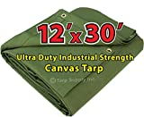 Ultra Duty 12'x30' Finished Size Industrial Strength Green Polyester Canvas Tarp with Brass Grommets Approx Every 2 Feet All Round