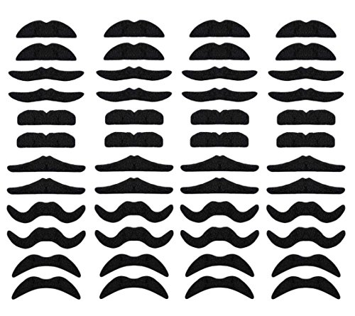 LuckyStar365 48 pcs Novelty Fake Mustaches, Mustache Party Supplies, Self Adhesive Mustaches for Masquerade Party & Performance ()