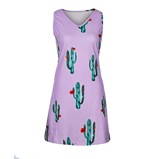 b13f4658 KESEELY Women Cactus Print Dress - Ladies Causal Sleeveless Mini O Neck  Summer T Shirt Dress