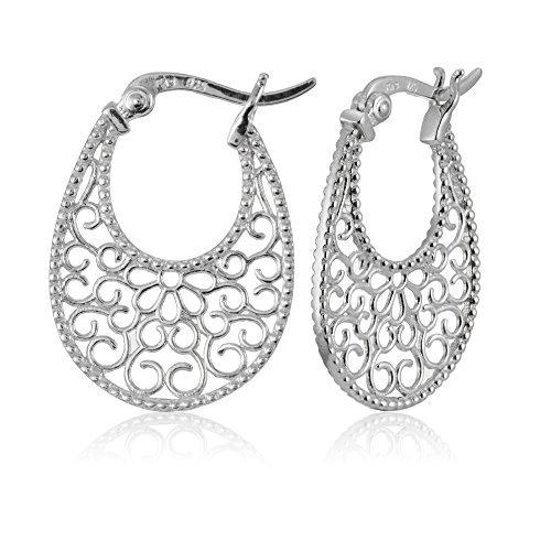 Filigree Flat (Sterling Silver High Polished Floral Filigree Oval Flat Earrings)