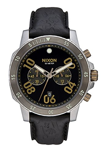 Nixon  Men's Ranger Chrono Leather Black/Brass Watch