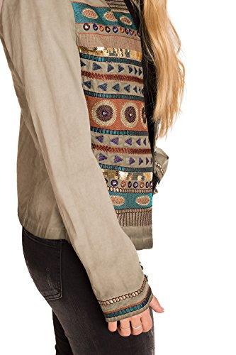 étnicos mujer chica caqui detalles amp;CASUAL CHIC Parka con verde xqISwB6O