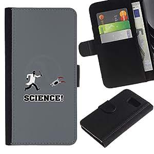 YiPhone /// Tirón de la caja Cartera de cuero con ranuras para tarjetas - Apertura Laboratorio de Ciencias divertido juego - Samsung Galaxy S6