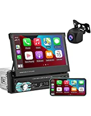 EKAT Single Din Car Stereo with Carplay,7 Inch Flip-Out Touchscreen Car Radios MP5 Player with Bluetooth/FM/USB/AUX, Phone Mirror Link + HD Backup Camera