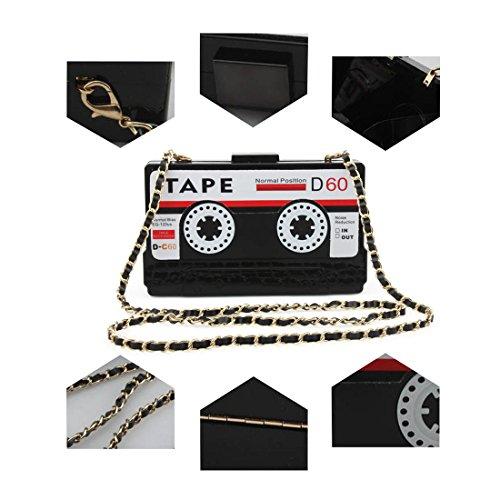 Women's SUI Shoulder LUI Tape Black Purse Shaped Bag Clutch Elegant Z5qHwWFHxO