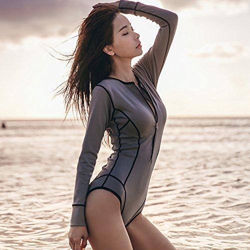 a da con Bikini XL sexy lunghe bagno Xiaoxiaozhang maniche zip Costume qARw0I