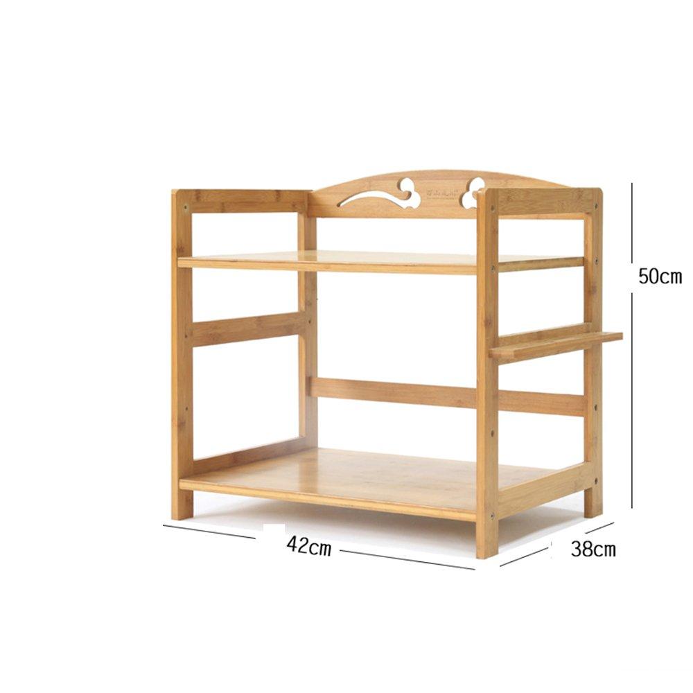 MENA Home Regal   Mikrowelle Rack Küche Boden Bambus Massivholz Regal Aufbewahrung Regal Einfache Regal Dreistöckiges Regal (größe   80  38  60cm)  503842cm