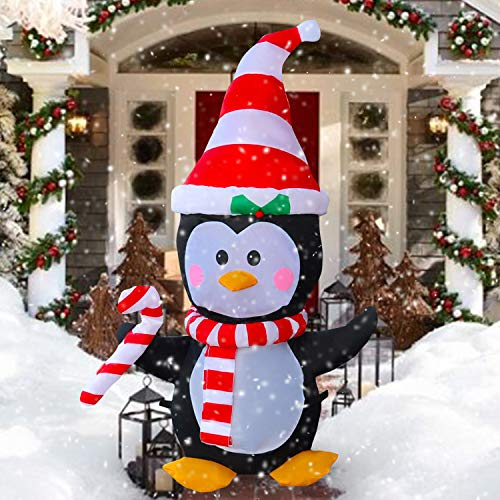SEASONBLOW 4 Ft LED Light Up Inflatable Christmas Penguin with Scarf & Candy Decoration for Yard Lawn Garden Home Party Indoor Outdoor Holiday Xmas Decor from SEASONBLOW