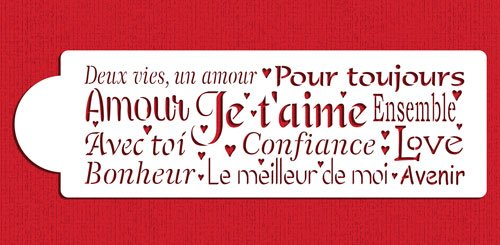 French Words of Love Cake Stencil Side by Designer Stencils