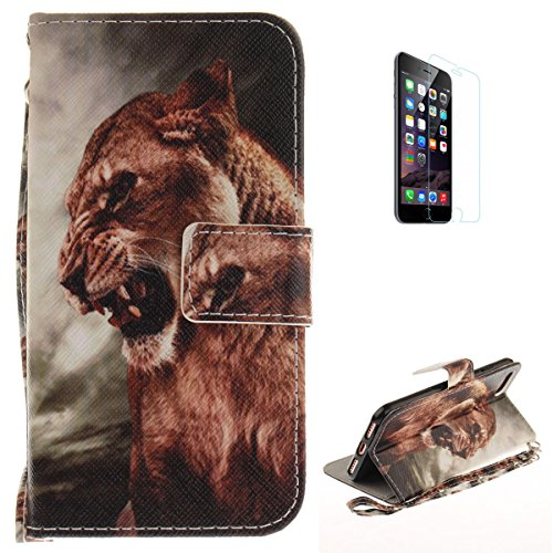 iPhone 7/iPhone 8 Flip Magnetic Leather Case [Free Screen Protector] KaseHom Cute Wild Animals Lion Painted Design Folio Wallet Case with [Card Slot] [Hand Strap] Slim Protective Cover Holster