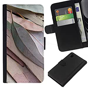 WINCASE Cuadro Funda Voltear Cuero Ranura Tarjetas TPU Carcasas Protectora Cover Case Para Sony Xperia Z1 L39 - otoño en colores pastel cubo hojas marrón otoño