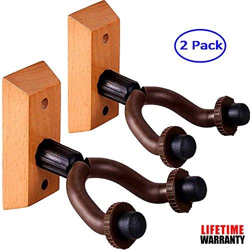 Guitar Hanger Wall Mount Wingo 2-Pack Hardwood Holder Hook S