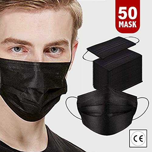 50 PCS Face Masks disposable for Adults, Disposable Protective Breathable Face Coverings,Motorbike Face Mask Breathable…