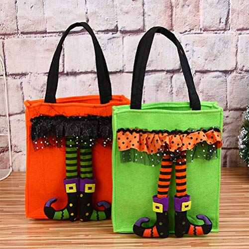 Halloween Children's Gift Candy Bag, 2PCS Trick or Treat Tote Bags Mall Kindergarten Cookies Apple Gift Bags