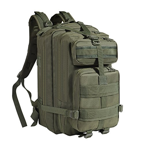 - Flexzion Tactical Backpack (O.D Green) Large Army Assault Pack 40L w/MOLLE Gear Attachment System, Bug-Out Bag Daypack Rucksack for Outdoor Hiking Trekking Camping Hunting