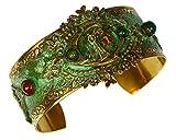 Egyptian Motif Patina Brass Cleopatra Cuff Bracelet - Carnelian, Malachite, Turquoise