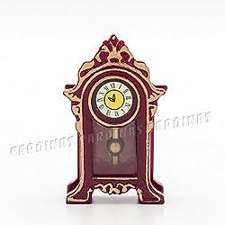 Odoria 1:12 Miniature Vintage Pendulum Clock Antique Grandfather Clock Dollhouse Decoration Accessories