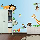 lovely lion wall decals Lovely Animals Zoo Lion Monkey Giraffe Wall Art Stickers Decal For Kids Room Decoration