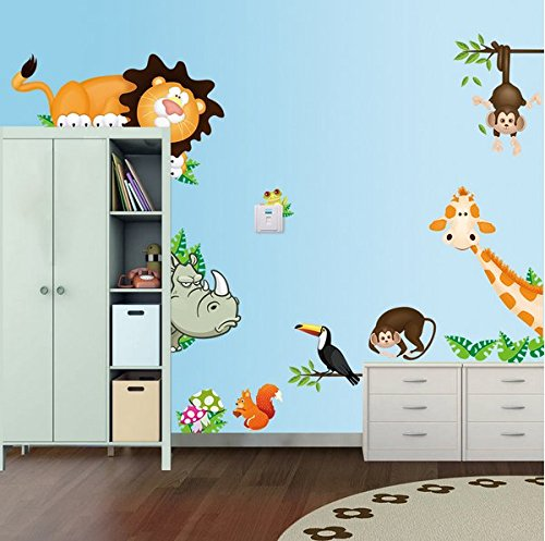 Lovely Animals Zoo Lion Monkey Giraffe Wall Art Stickers Decal For Kids Room Decoration