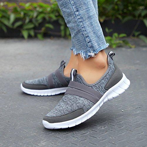 gris Chic Sneakers F Stretch Mode Running Haut Chaussures Léger Chaussettes Femme Foncé Couleur Ciellte De Stylish Plates Sports Baskets Unie 2019 gH1aBwSq