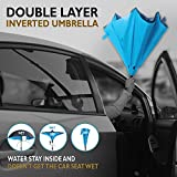 PowerLix Double Layer Inverted Umbrella Cars Reverse Umbrella, Windproof UV Protection Folding Umbrellas for Car Rain Outdoor, With C-Shaped Handle, Self-Standing Feature And Carrying Bag.