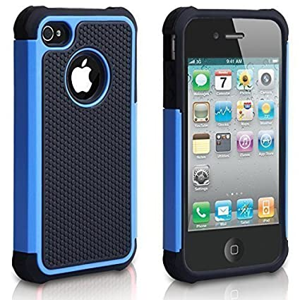 Review CHTech iPhone 4 Case, iPhone 4S Case,Fashion Shockproof Durable Hybrid Dual Layer Armor Defender Protective Case Cover for Apple iPhone 4S/4 - Blue