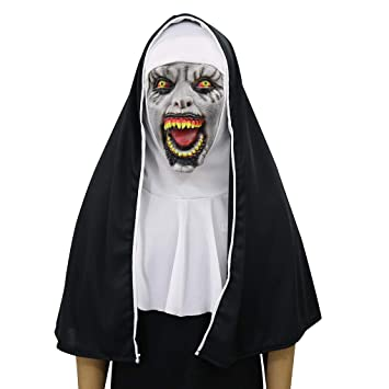 LW Máscara De Terror Horror De Halloween Scary Nun Mask Veil Scary Zombie Fantasma Femenina Face