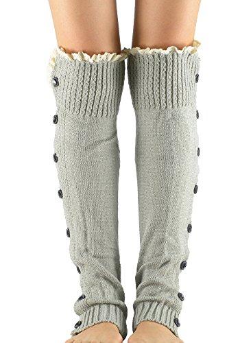 Zando Women's Girl Fashion Winter Warm Knit Boot Cuffs Leg Warmers Foot Glove Button/Light Grey (How To Wear Thigh High Boots)