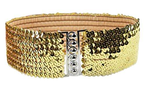 (X&F Women's Sequin Punk Wide Belt Girls Stretch Cinch Dress Decorative Belts Golden)
