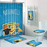 iPrint Bathroom 5 Piece Set Shower Curtain 3D Print,Mathematics Classroom Decor,Education Science Concept School College Supplies Set Books Cap Decorative,Multicolor,Picture Print Design